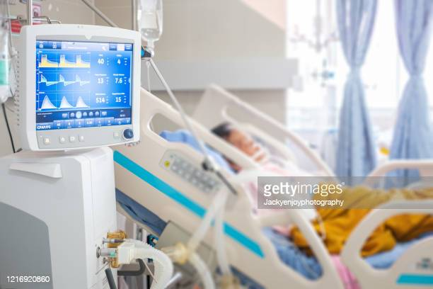 ventilator monitor ,given oxygen by intubation tube to patient, setting in icu/emergency room - ziekenhuis stockfoto's en -beelden