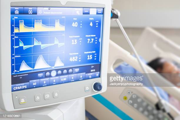 ventilator monitor ,given oxygen by intubation tube to patient, setting in icu/emergency room - intubation stock pictures, royalty-free photos & images