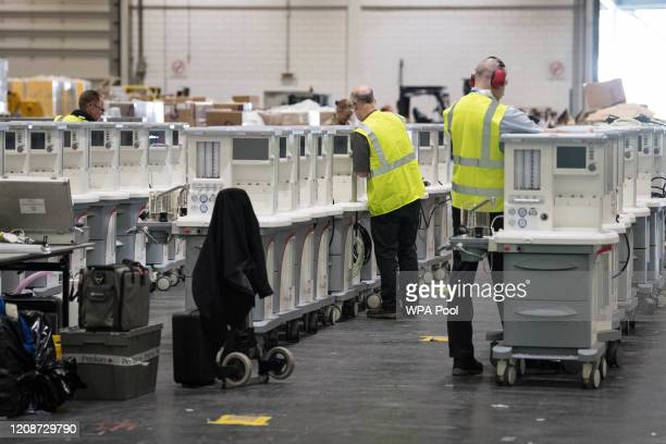 Ventilators are stored and ready to be used by Coronavirus patients at the ExCel centre which is being made into the temporary NHS Nightingale...