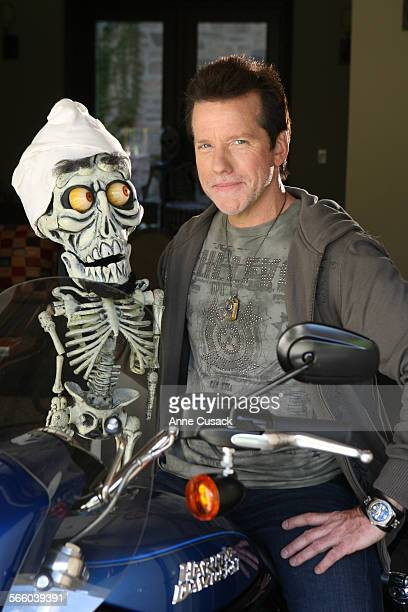 Ventriliquist Jeff Dunham poses for a portrait with Achmed the dead terrorist at his home in Encino on October 5 2009 He will now be heading up his...