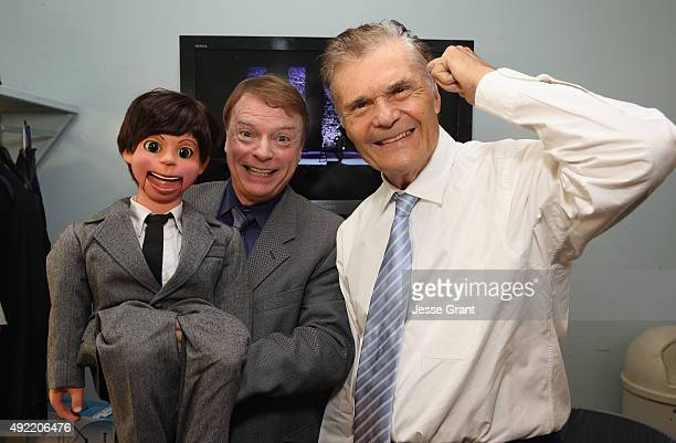 Ventriloquist Jay Johnson and host Fred Willard pose backstage during the 9th Annual Comedy Celebration presented by the International Myeloma...