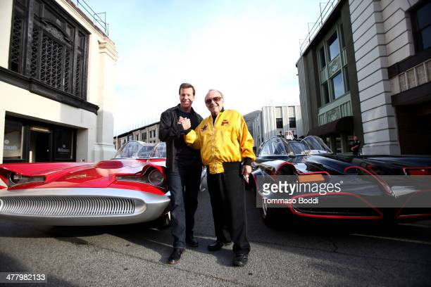 Ventriloquist Jeff Dunham and designer George Barris attend the Warner Bros VIP tour 'Meet The Family' speaker series Cars For Movie/TV held at the...