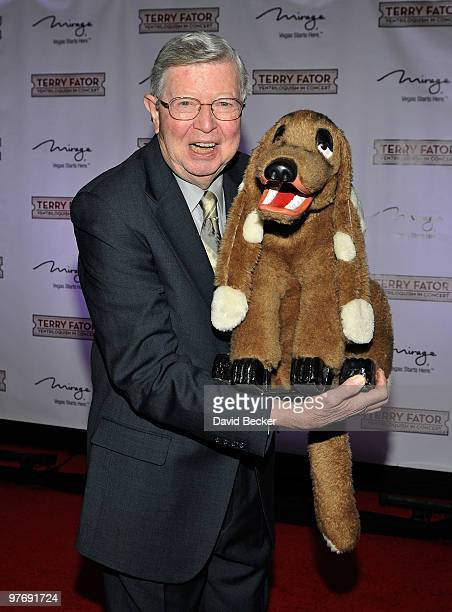 Ventriloquist Jimmy Nelson with his puppet Farfel arrives at the one year anniversary of the show 'Terry Fator His Cast of Thousands' at The Mirage...