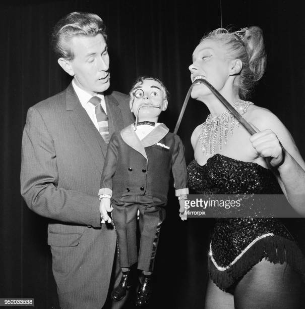 Ventriloquist Ray Alan with puppet Lord Charles meet London Strong Woman Joan Rhodes at the Magic Circle Festival being held at the Scala Theatre in...