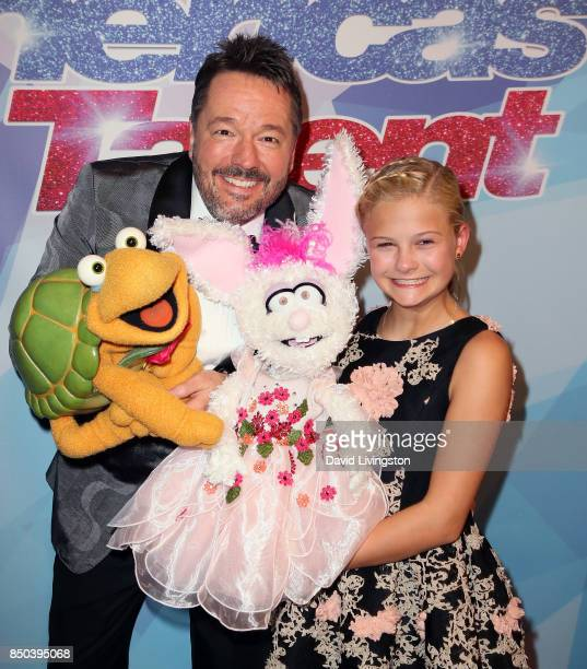 Ventriloquist Terry Fator and Season 12 winner ventriloquist Darci Lynne Farmer attends NBC's 'America's Got Talent' season 12 finale at Dolby...