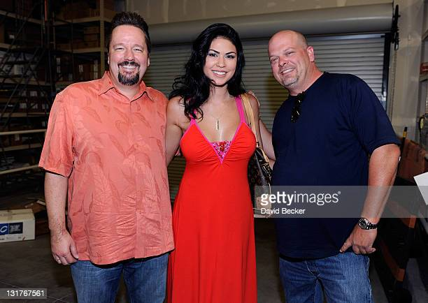 Ventriloquist Terry Fator model/performer Taylor Makakoa and Gold Silver Pawn Shop owner Rick Harrison appear at the Gold Silver Pawn Shop on June 9...