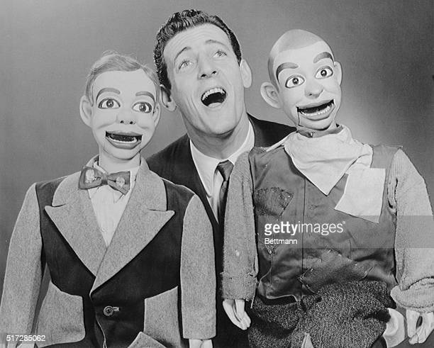 Ventrilquist Paul Winchell shown with his two dummies Jerry Mahoney and Knucklehead Smiff