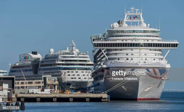Ventura a Grandclass cruise ship of the PO Cruises fleet and AIDAblu a Sphinxclass cruise ship operated by the German cruise line AIDA Cruises are...