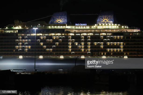 'MV Ventura' a Grandclass cruise ship of the PO Cruises fleet docked at Southampton Docks shows its support for the NHS by lighting up rooms on the...