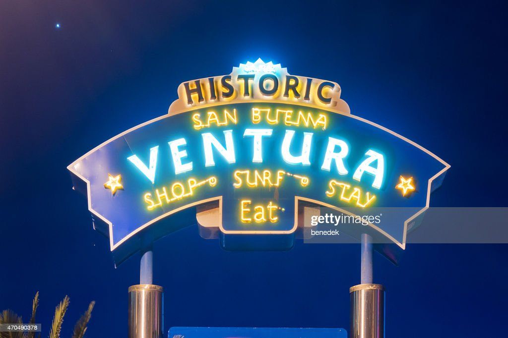 Ventura California Neon Sign at Night : Stock Photo