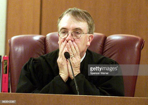 Ventura County CA Superior Court Judge Ken Riley listens to attorneys discuss motions before the opening of the rape trial against Andrew Luster the...