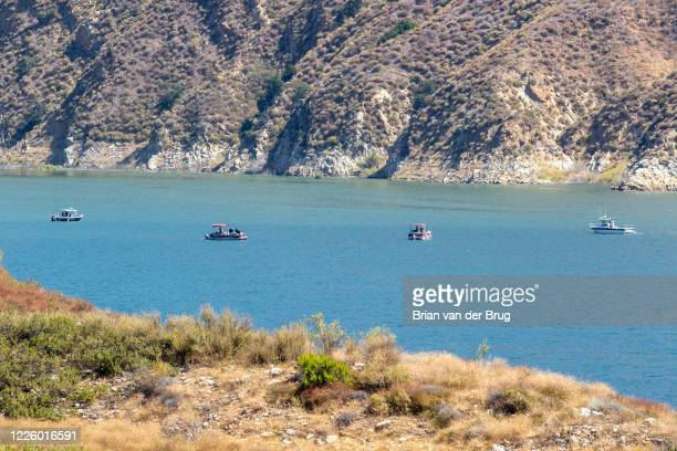 Ventura County crews search Lake Piru for missing actress Naya Rivera, who is missing at on Thursday, July 9, 2020 in Lake Piru, CA.
