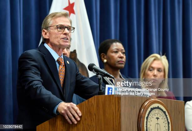 Ventura County District Attorney Gregory Totten answers questions about the Golden State Killer during a press conference about the Golden State...