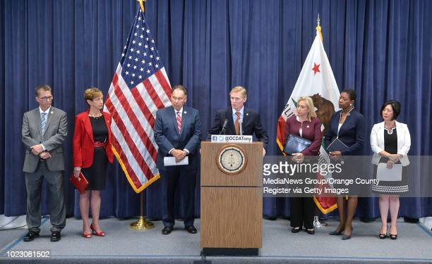 Ventura County District Attorney Gregory Totten during a press conference about the Golden State Killer surrounded by fellow district attorneys Tim...
