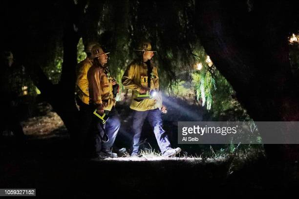Ventura County Firefighters search for people in trees outside the club of Borderline mass shooting on November 8 2018 in Thousand Oaks California...