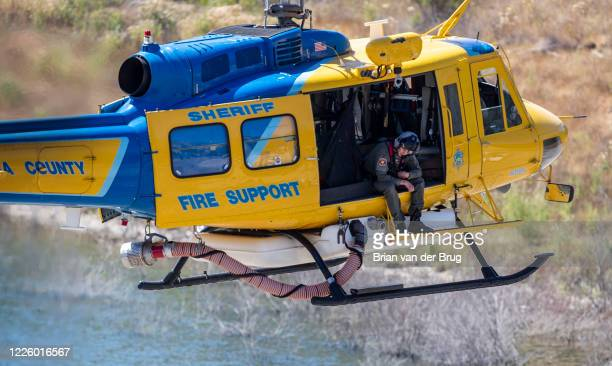 Ventura County helicopter crew searchers the shoreline at Lake Piru for missing actress Naya Rivera on Thursday July 9 2020 in Lake Piru CA