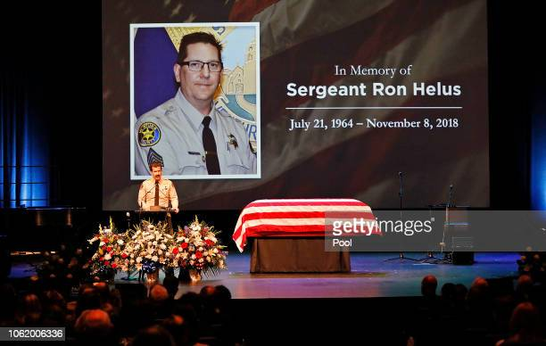 Ventura County Sheriff Bill Ayub addresses the crowd attending the memorial service for Ventura County Sheriff Sgt Ron Helus at Calvary Community...