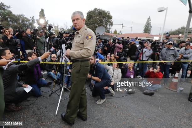 Ventura County Sheriff Geoff Dean addresses the media at a command post following the mass shooting by Ian David Long at the Borderline Bar & Grill,...