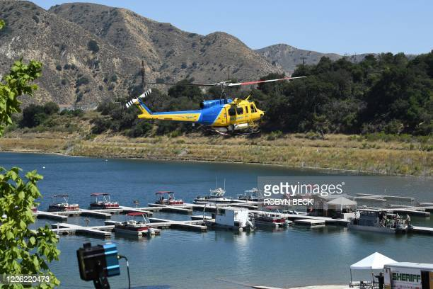 Ventura County Sheriff's helicoptor returns to base as search efforts continue to find actress Naya Rivera on July 10, 2020 in Piru near Fillmore,...