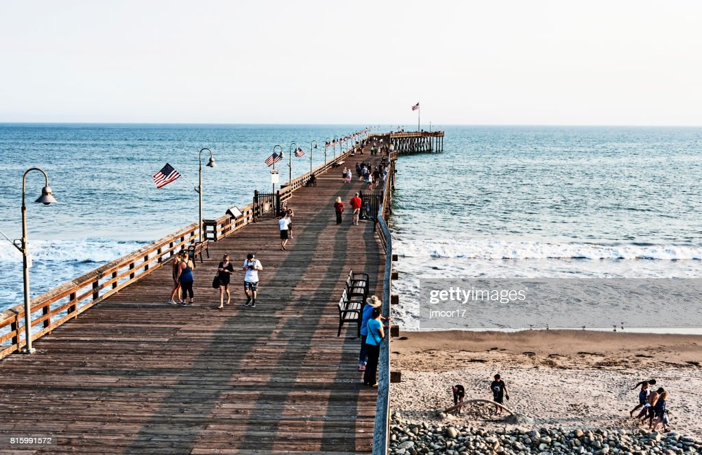 Ventura Pier in Southern California with many Visitors : Stock Photo