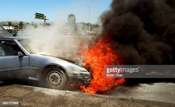 Ventura resident Shelby Leroy Adams' 1986 Nissan 300ZX burns on the side of southbound Highway 101 at Victoria Ave Adams was driving south on 101...