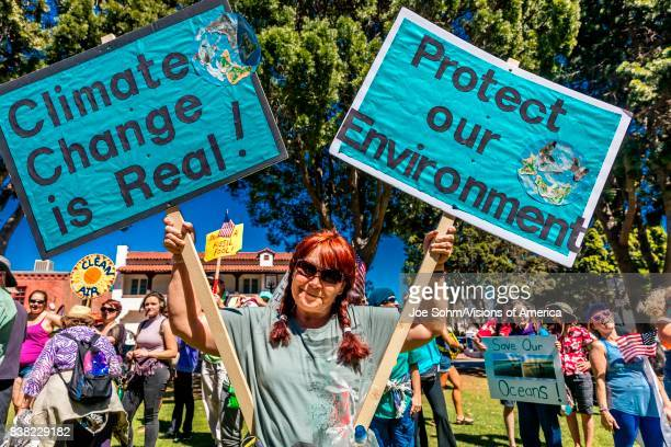 Ventura residents protestor demonstrate on Earth Day against President Trump's environmental policies
