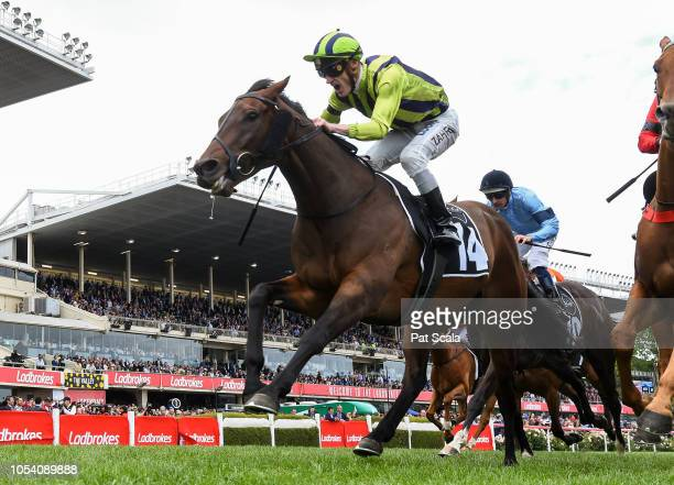 Ventura Storm ridden by Mark Zahra wins the McCafe Moonee Valley Gold Cup at Moonee Valley Racecourse on October 27, 2018 in Moonee Ponds, Australia.
