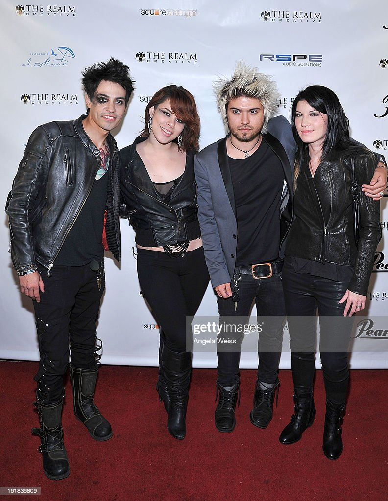 Ventura XIII, Melissa Pizarro, Zach Webb and Emma Anzai attend The Realm Creative red carpet premier party on February 16, 2013 in Los Angeles, California.