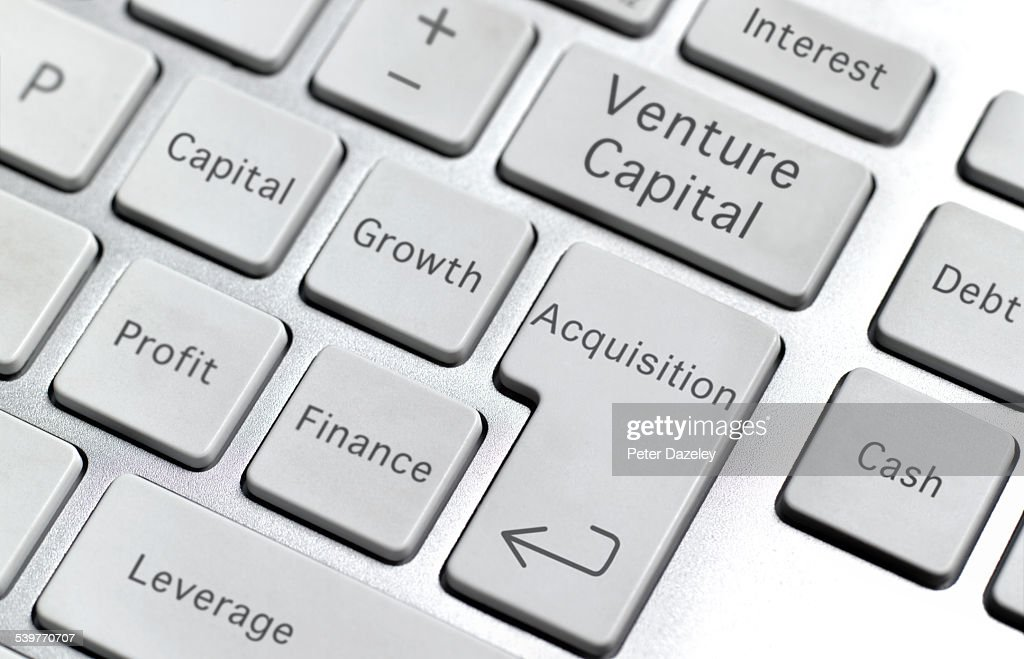Venture capital keyboard : Stock Photo