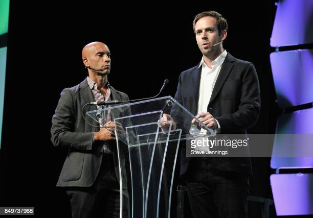 Ventures CoFounder Adrian Fenty and Citizen Founder and CEO Andrew Frame speak onstage during TechCrunch Disrupt SF 2017 at Pier 48 on September 19...