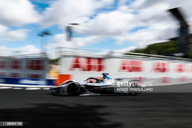 Venturi's bresilian driver Felipe Massa steers his car during the practice session of the ParisPrix leg of the Formula E season 20182019 electric car...
