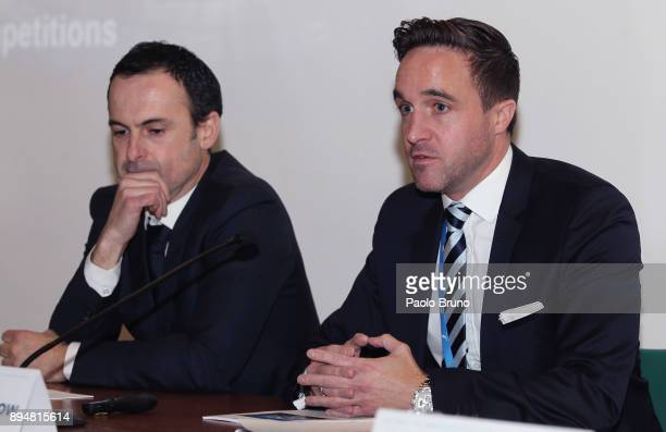 UEFA Venue Director Giovanni Pifarotti and UEFA Football Operation Manager Thomas Barlow attend the Italian football federation meeting for...