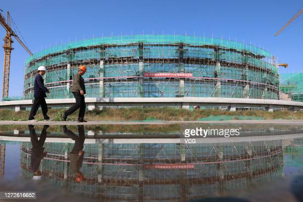 A venue for speed skating is under construction for the 2022 Olympic Winter Games on September 14 2020 in Zhangjiakou Hebei Province of China