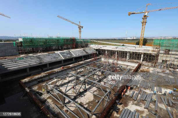 A venue for swimming is under construction for the 2022 Olympic Winter Games on September 14 2020 in Zhangjiakou Hebei Province of China