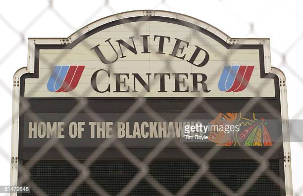 Venue signage is visible through a security fence at the United Center home of the NHL Chicago Blackhawks hockey team October 14 2004 in Chicago...