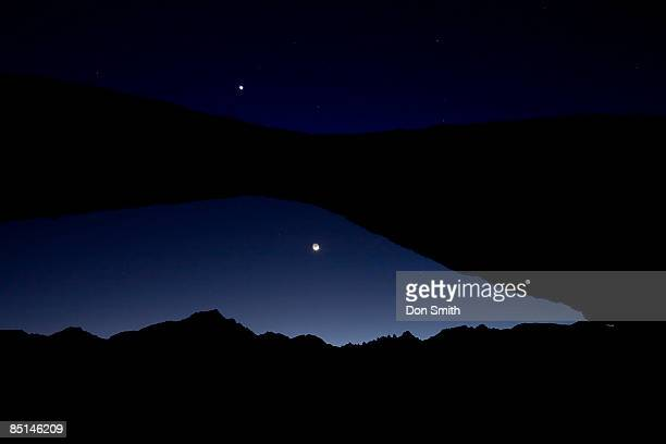 Venus and Crescent Moon Over Mount Whitney