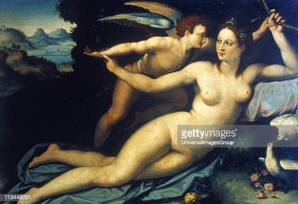 Venus and Cupid' Alessandro Allori 15351607 Italian painter