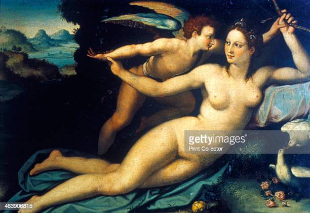 'Venus and Cupid' mid 16th century Venus has taken Cupid's bow In the bottom right is a pair of doves birds of love From the Uffizi Gallery Florence