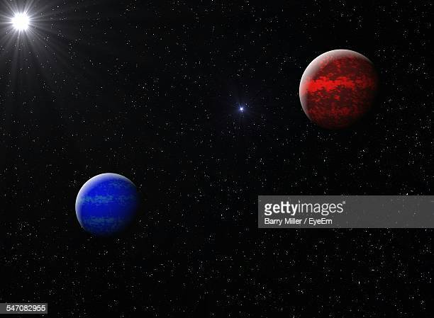 venus and neptune planets in sky at night - venus planet stock pictures, royalty-free photos & images