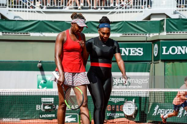 Venus and Serena Williams of USA during Day 8 of the French Open 2018 on June 3 2018 in Paris France