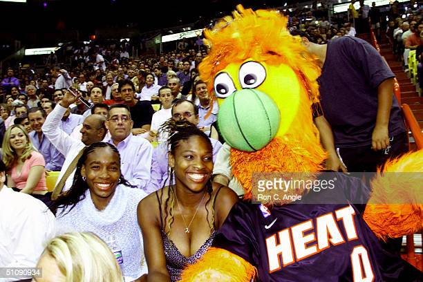 Venus And Serena Williams Watch The Miami Heat Verses The LA Lakers Game In Miami Florida March 21 2000 Both Sisters Will Be Playing In The Ericsson...