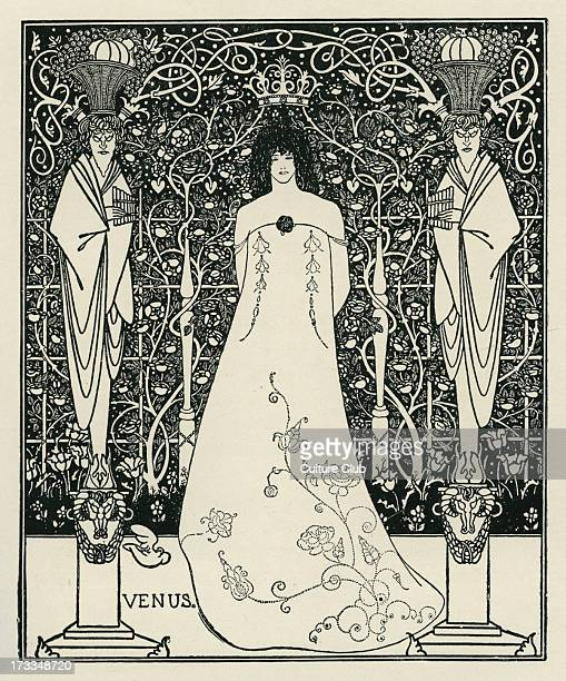 Venus and Tannhäuser by Aubrey Beardsley based upon the opening act of Richard Wagner's Opera Tannhäuser 1843 RW 18131883