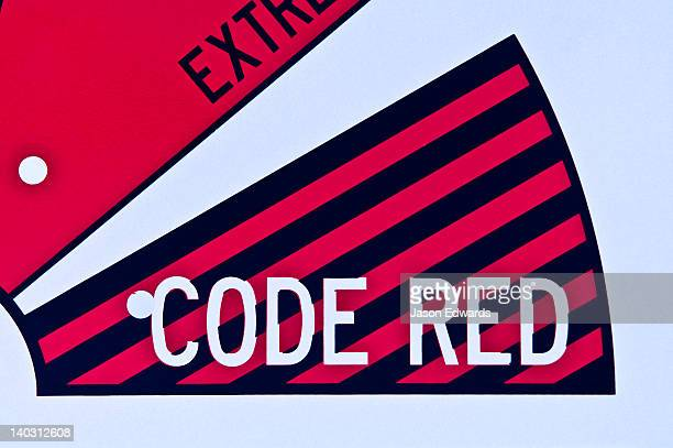 Extreme bushfire danger is indicated by a code red warning sign.