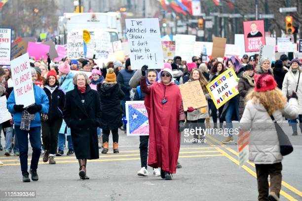 Venus Caceras of the Suburbs dons a Handmade Tale costume as she participates in the January 19 2019 Womens March over the Benjamin Franklin Parkway...