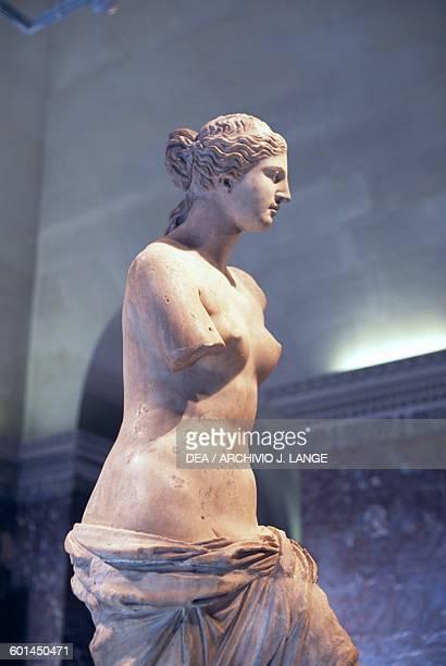 Venus de Milo 130 BC by Alexandros of Antioch marble sculpture found in Milos Greece Greek civilization 2nd century BC Detail Paris Musée Du Louvre