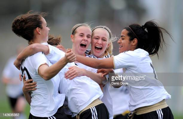 Venus ElKassem of Germany celebrates with teammates after Germany scores their first goal during the Czech Republic v Germany UEFA Women's U17...