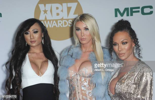 Venus lUx Aubrey Kate and Mia Isabella arrive for the 2018 XBIZ Awards held at JW Marriot at LA Live on January 18 2018 in Los Angeles California