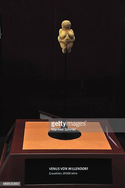 'Venus of Willendorf ' statuette on display at Naturhistorisches Museum on September 22 2015 in Vienna Austria The statue which will be on display...