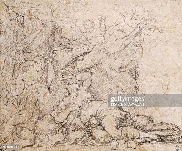Venus study for the Triumph of Divine Providence fresco on the vault in the hall at Palazzo Barberini Rome drawing by Pietro da Cortona Italy 17th...
