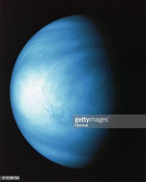 Venus taken by Galileo space probe It has been colorized to a bluish hue to emphasize subtle contrasts in the cloud markings and to indicate that it...